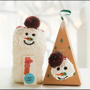 Cute Fuzzy Snowman Socks In Ornament Box